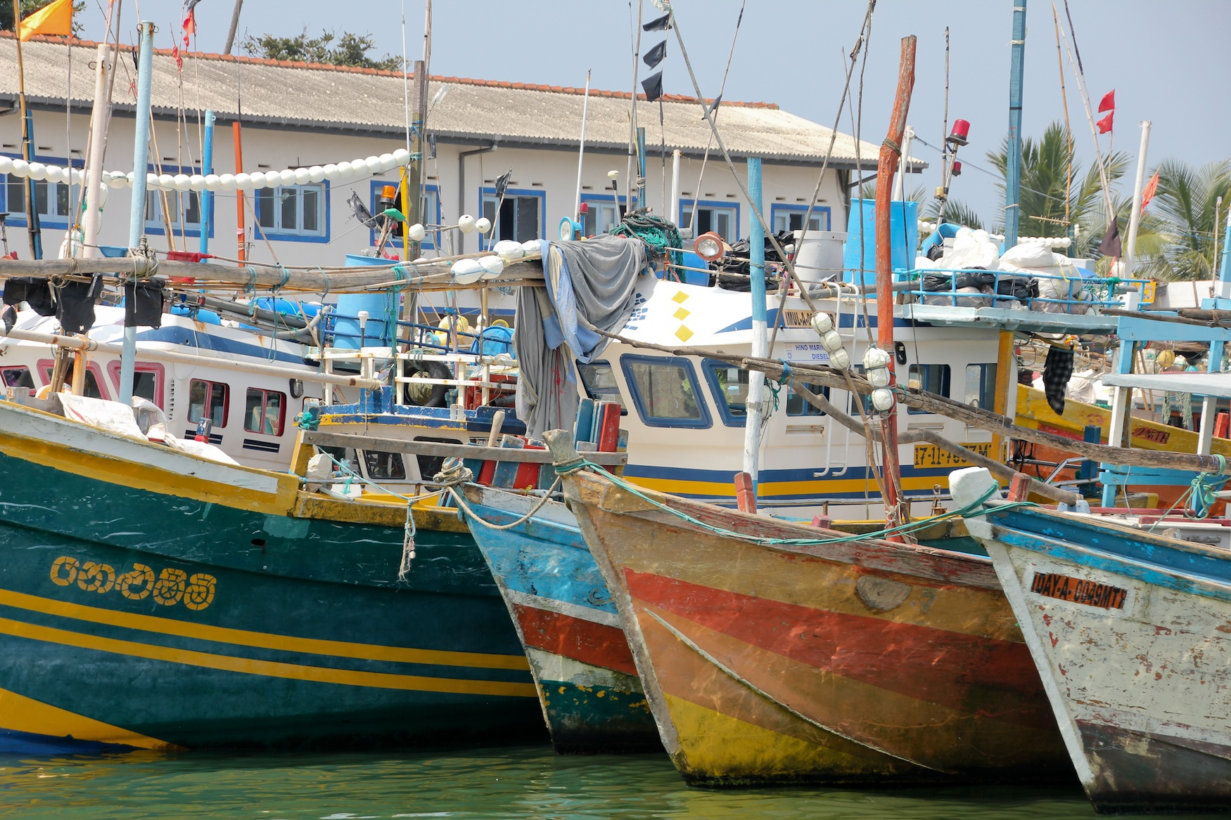 Colorful boats in the harbour in Galle