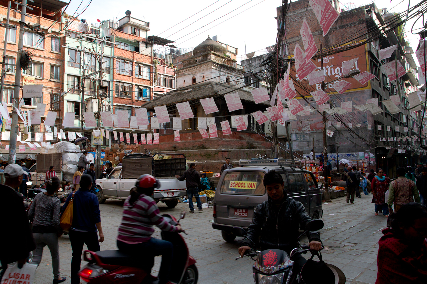 City chaos and election posters in Thamel, Kathmandu