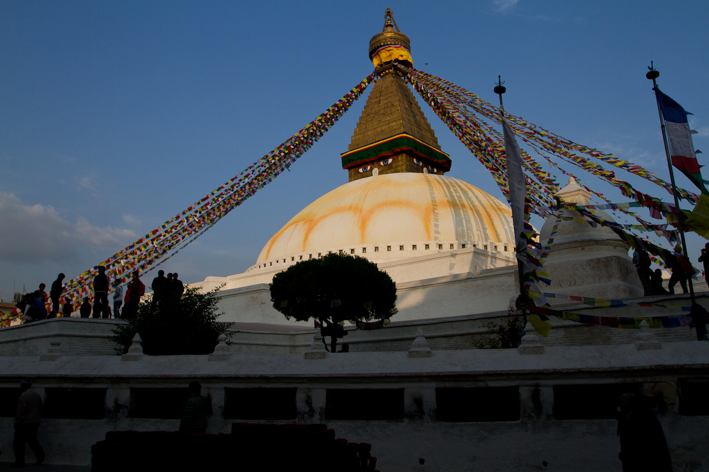 Boudha Stupa in the glow the evening sun