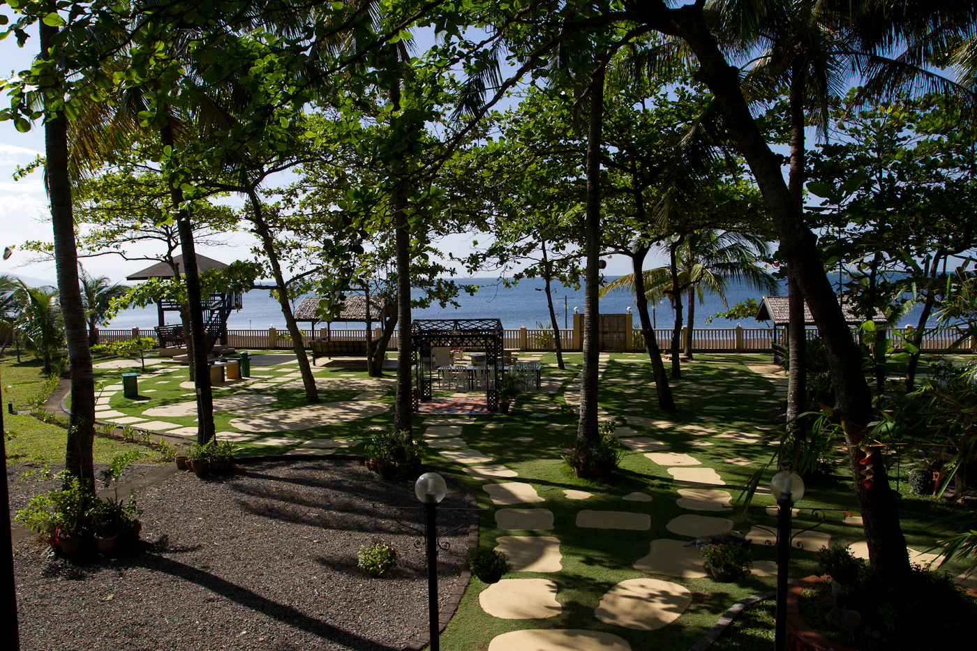 The grounds of the MiraMar Private Resort in Lemery, Batangas on the main island of Luzon. The wedding pre and after party took place here.