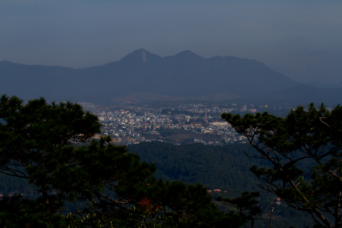 View over Dalat from the hills surrounding Paradise Lake.