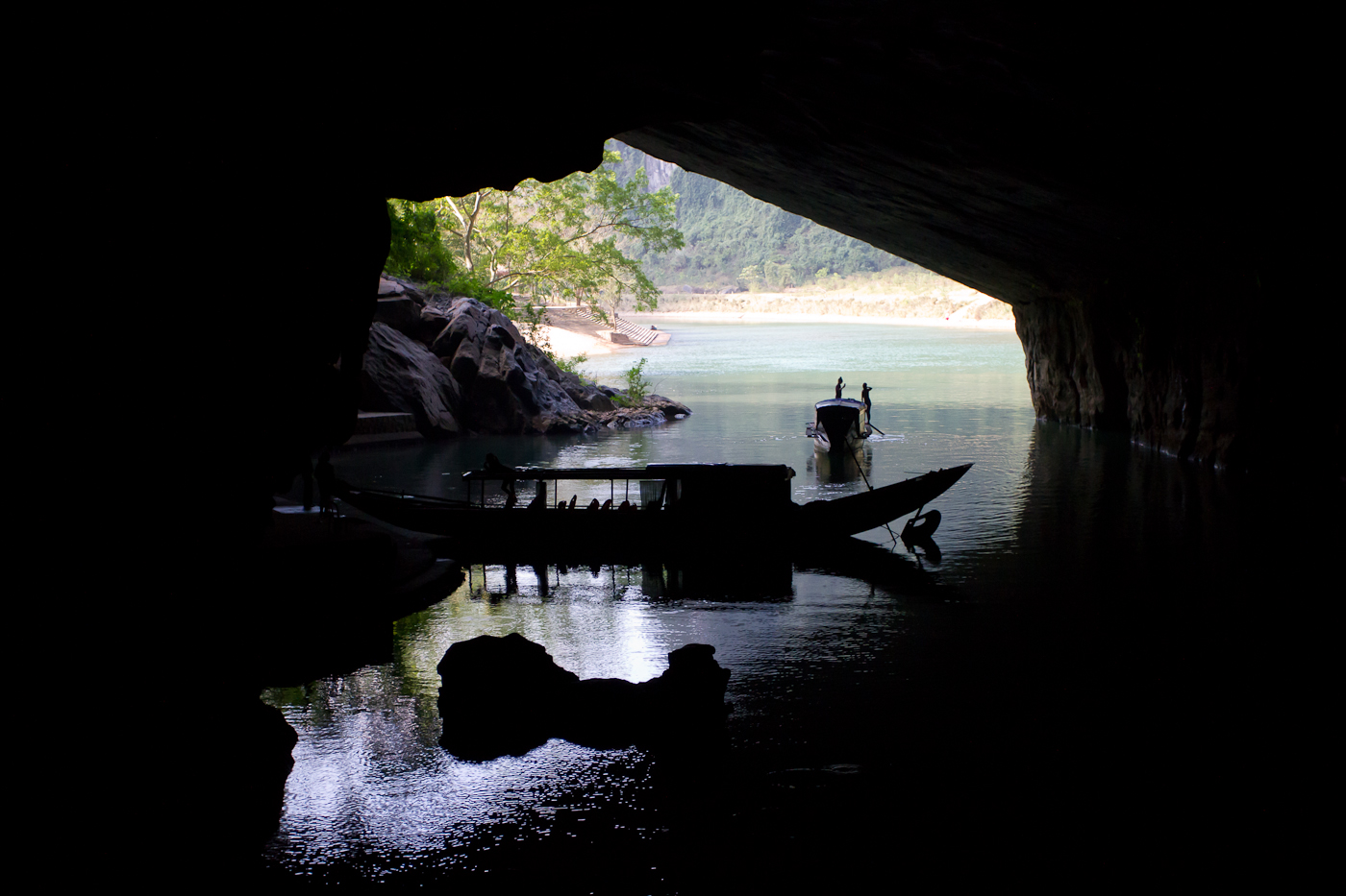 The entrance to the underground river at Phong Nha
