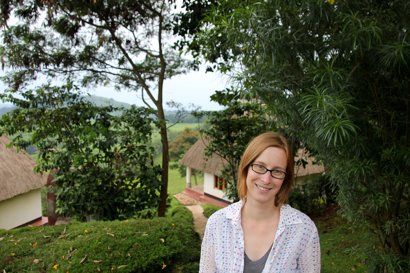 Manu in front of our cottage near Bwindi Impenetrable Forest.