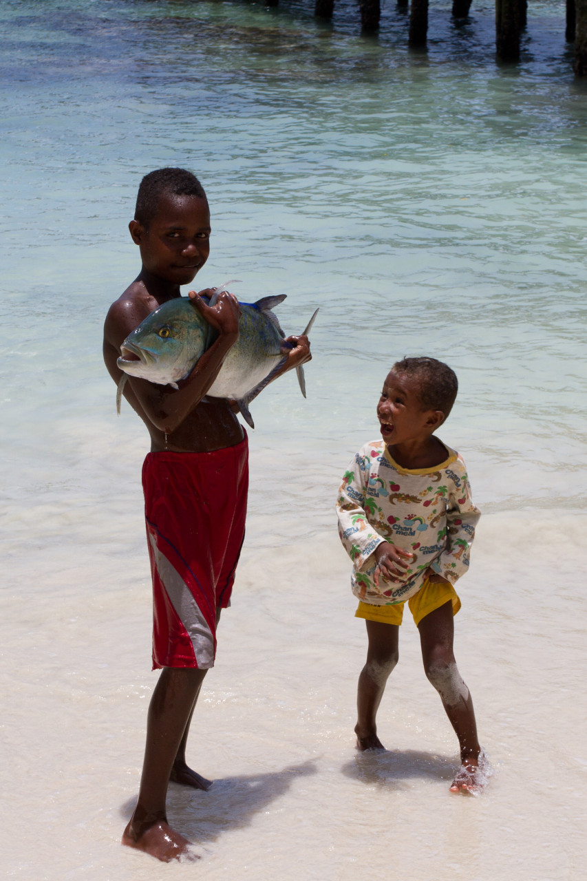 The little one was so excited you would have thought he caught the fish!