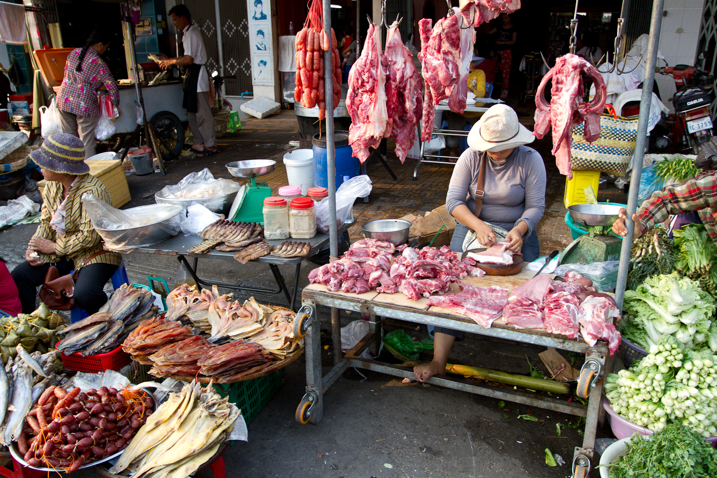 Women were not on sale at this meat market.