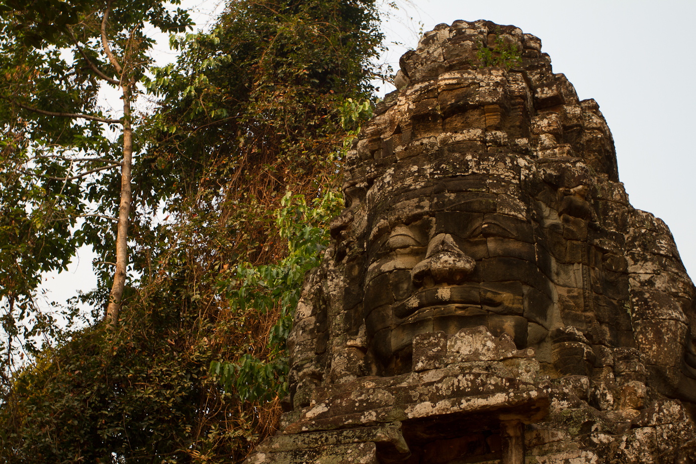 The mysterious smiling faces adorned many temple doorways.