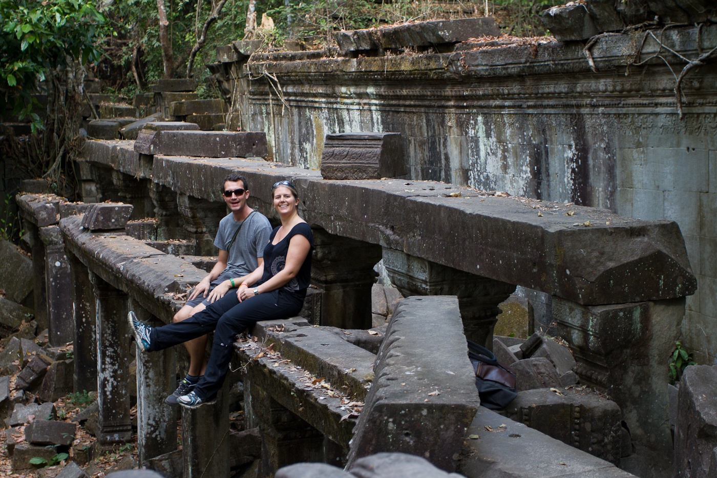 Taking a break at Beng Melea Temple.
