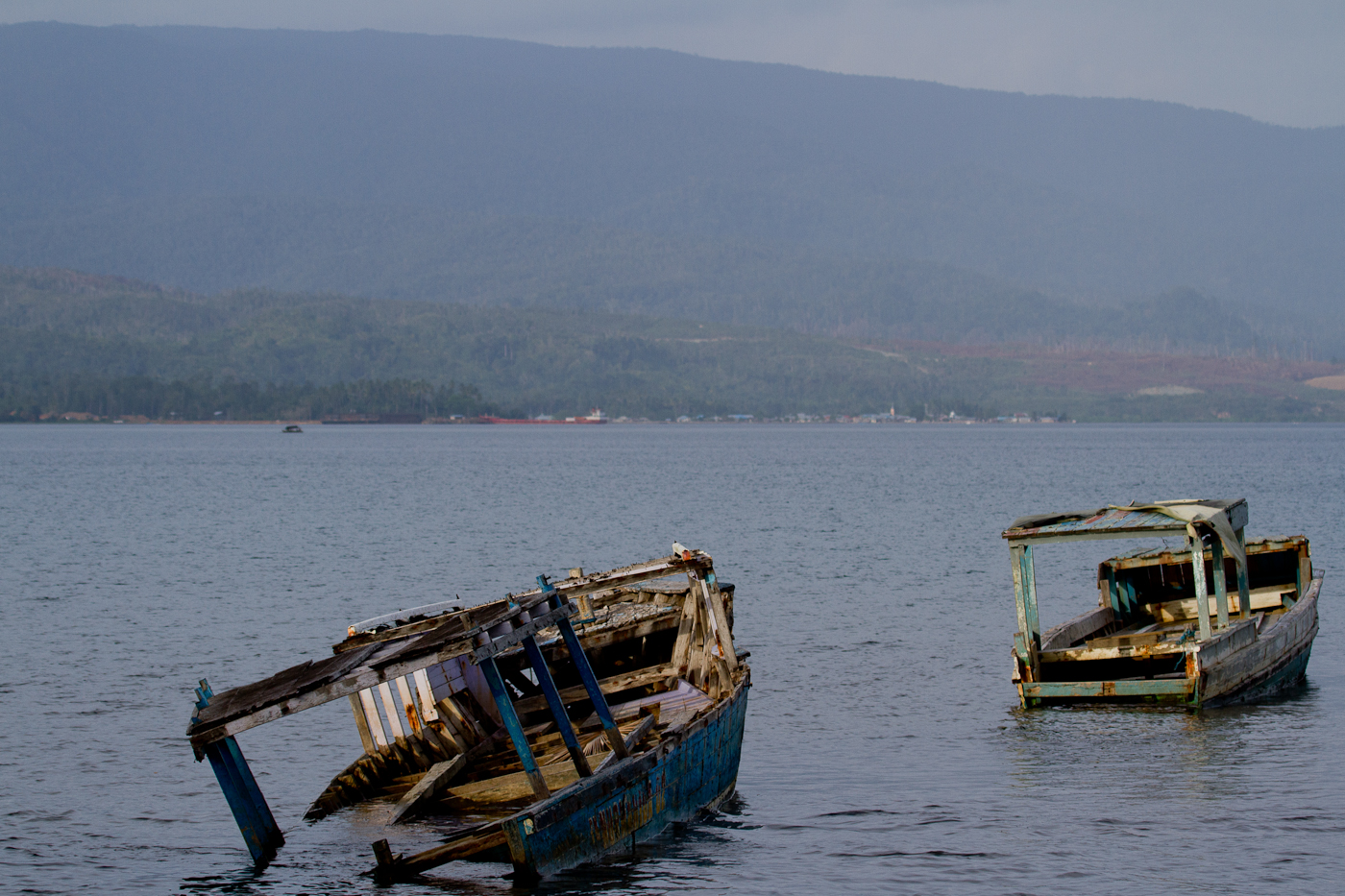 Broken boats in Halmahera