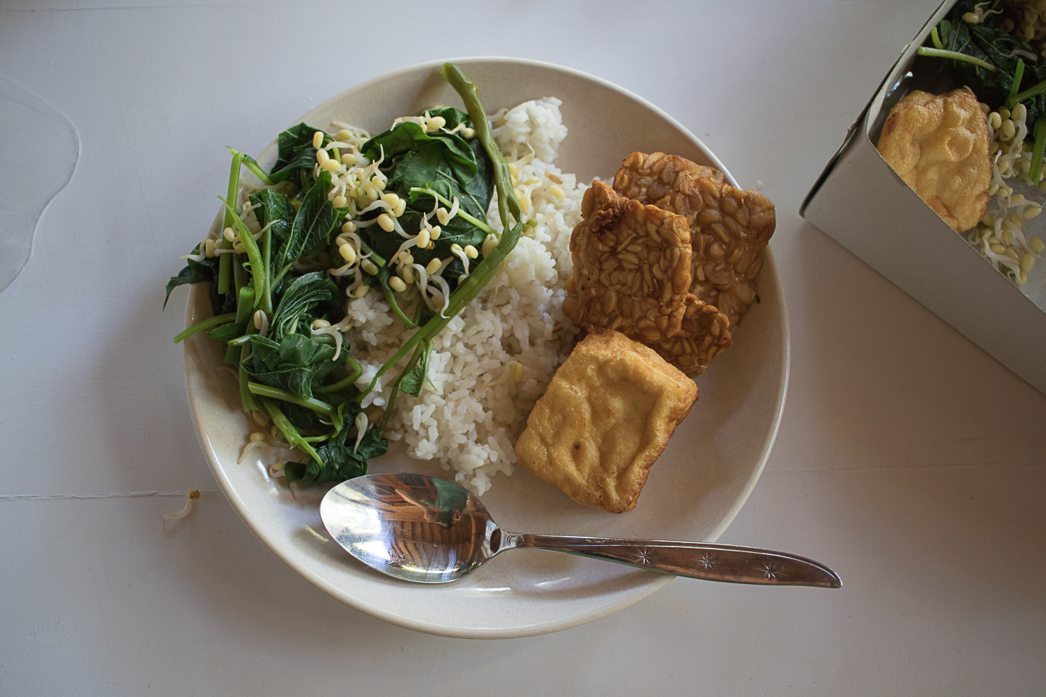 Typical Indonesian meal consisting of rice, tofu, tempe, and water spinach.